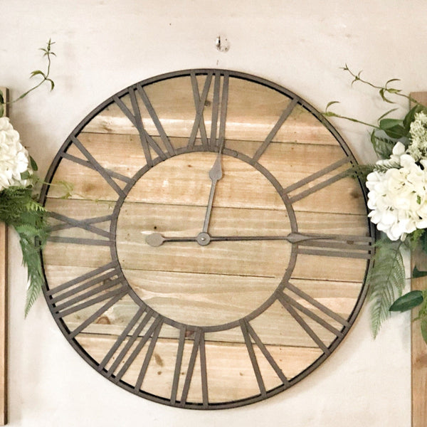 Wood & Metal Roman Numeral Clock LOCAL ONLY