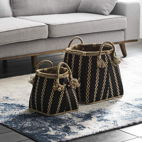 Black Stripe Basket Set