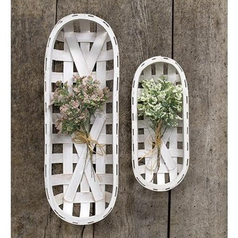 Whitewash Oval Tobacco Baskets, Set of 2