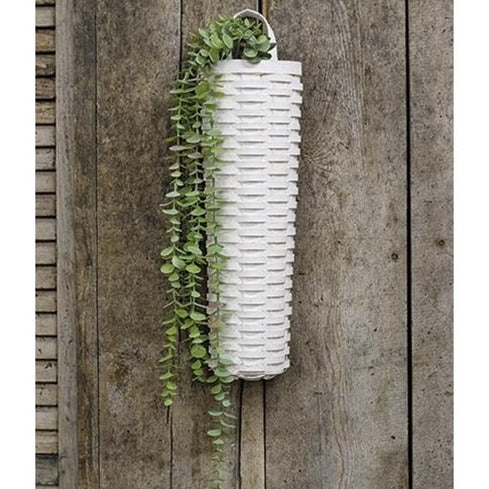Long Hanging Willow Basket, White