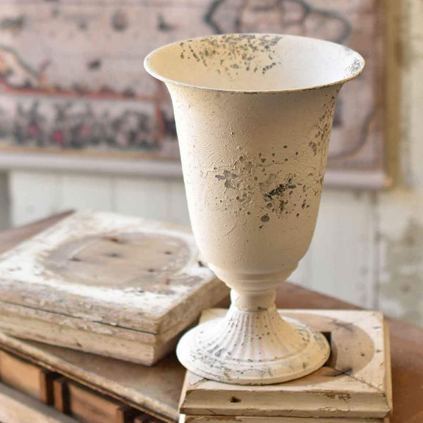 Distressed White Vase