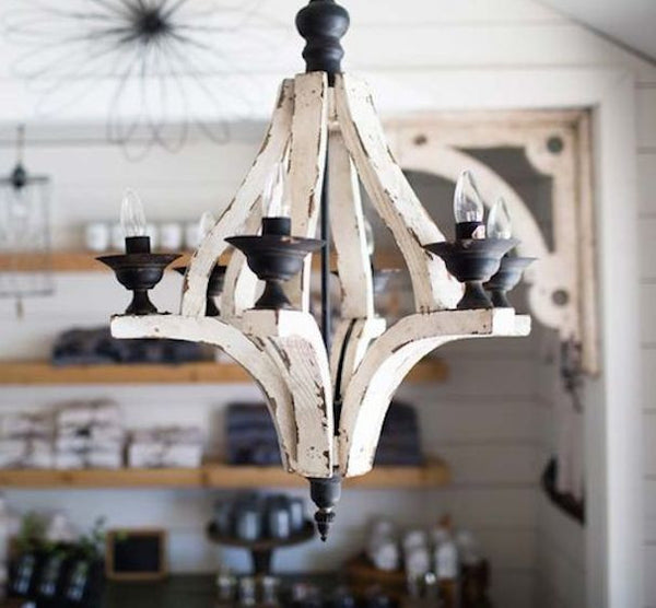 Distressed Painted Wood 6 Arm Chandelier