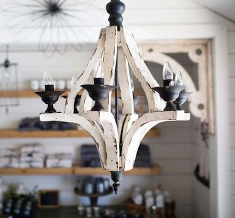 IN STORE ONLY - Distressed Painted Wood 6 Arm Chandelier