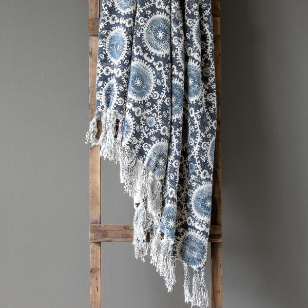 Blue Suzani Throw Blanket