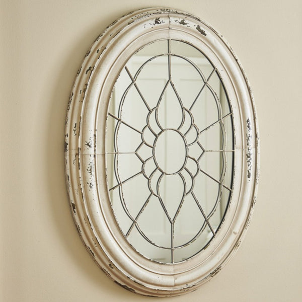 Aged Metal Window Frame Mirror