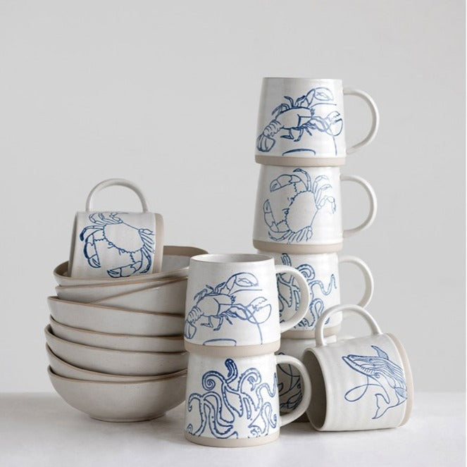 Sea Life Mugs, Set of 4 LOCAL ONLY