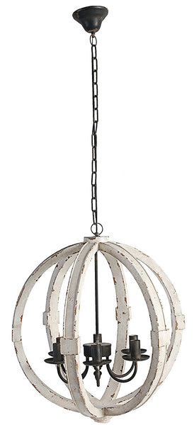Distressed Wood Orb Chandelier