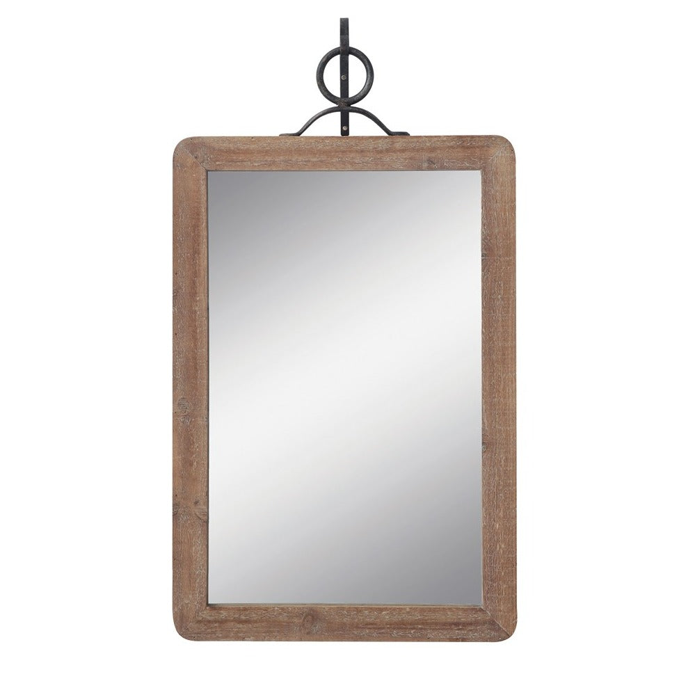 Wood Mirror w Metal Bracket