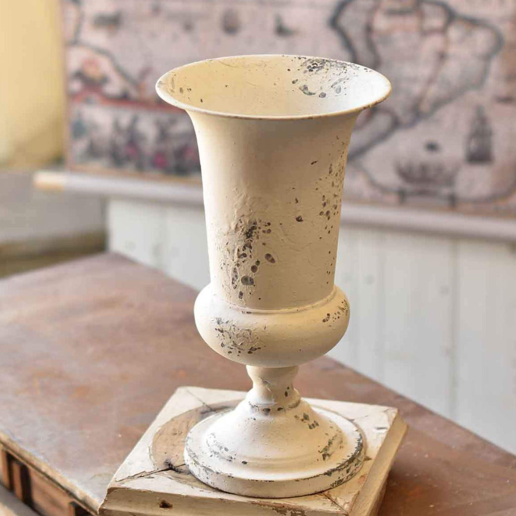 Distressed White Tall Vase