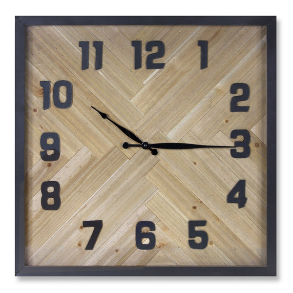 Square Wood Plank Clock