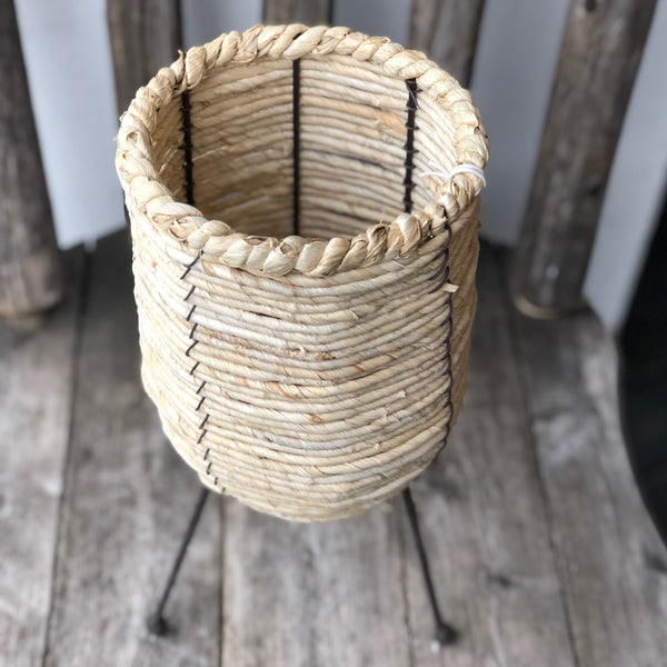 Woven Rope Container w/ Metal Legs LOCAL ONLY