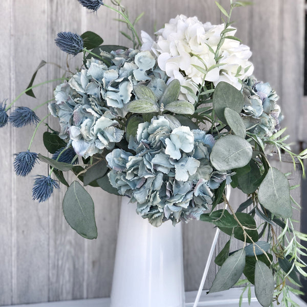 Faux Blue & White Hydrangea Bouquet LOCAL ONLY
