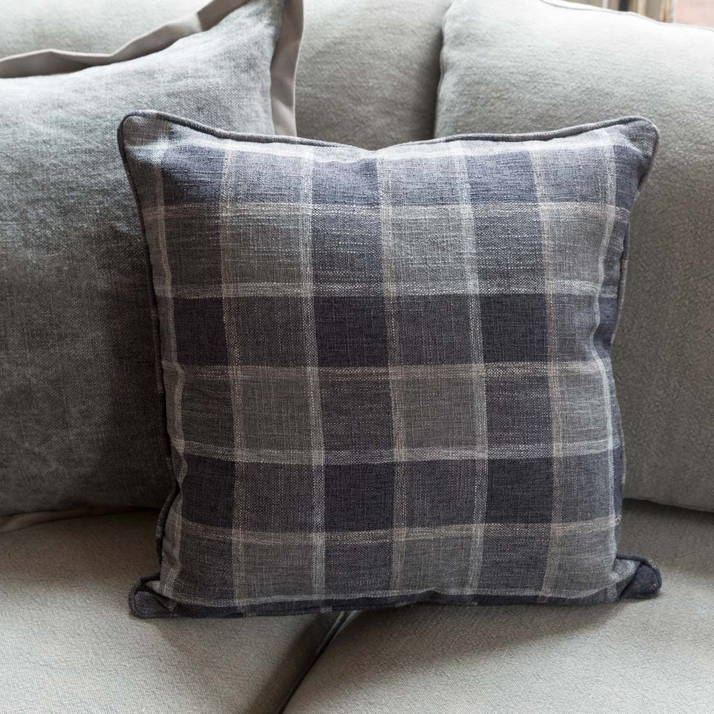 Blue Windowpane Throw Pillow