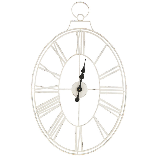 Oval White Metal Clock