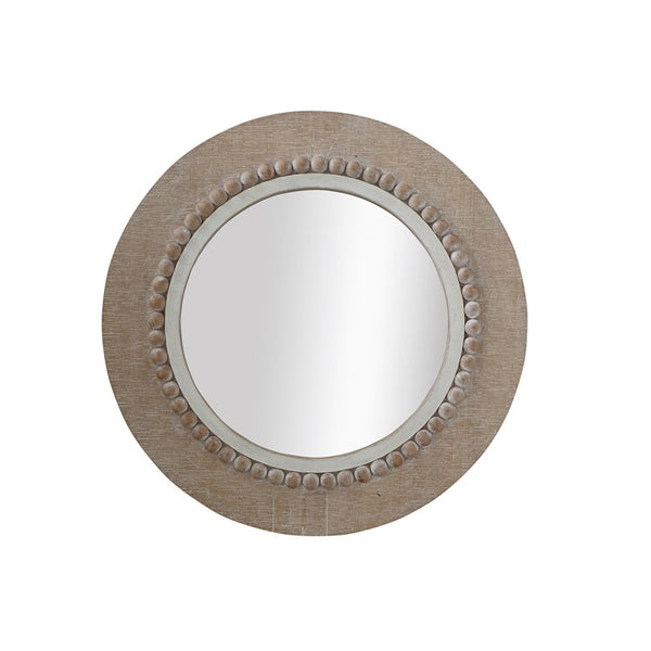 Whitewashed Round Beaded Mirror LOCAL ONLY