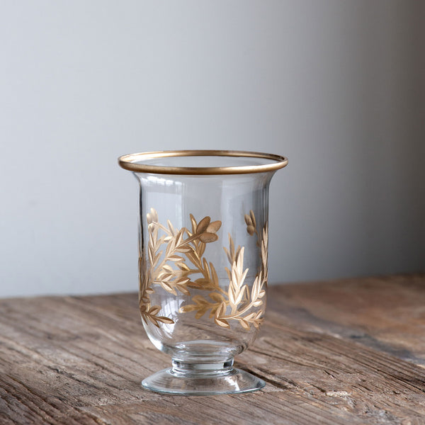 Gold Leaf Footed Vase