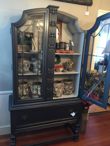 Graphite black china cabinet distressed
