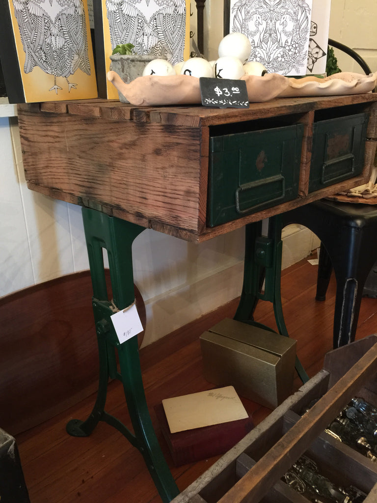 industrial repurposed recycled sewing table apothecary