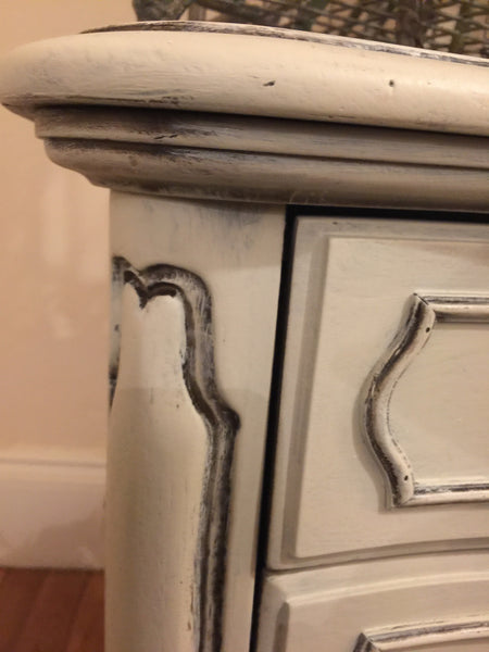 Night Stand or End Table - White Distressed