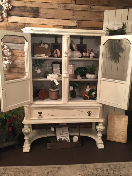 China cabinet, distressed, white, doors open