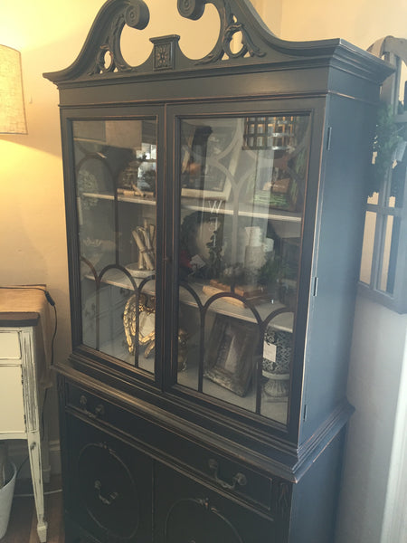 Cabinet in Graphite Distressed Paint and Paris Grey Interior