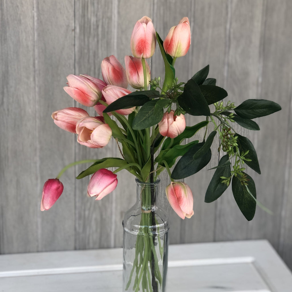 Pink Real Touch Tulips, Set of 14 - LOCAL PICKUP ONLY