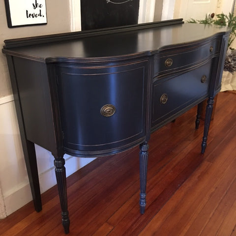 Curved Sideboard Buffet in Graphite