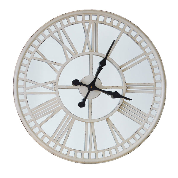Cream Mirrored Clock