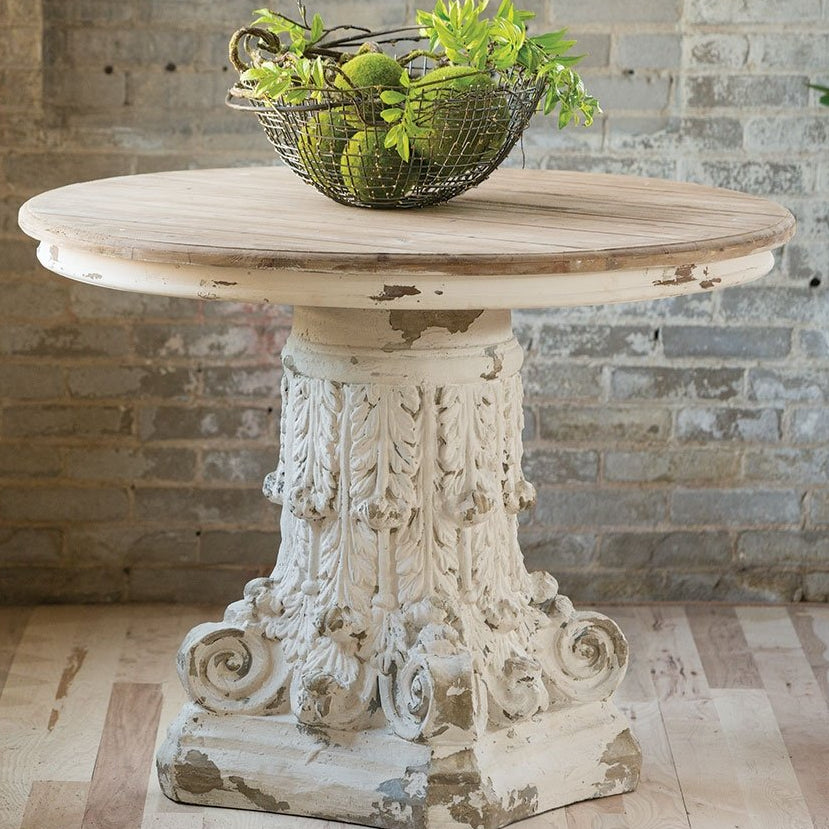 Round Distressed Pedestal Table