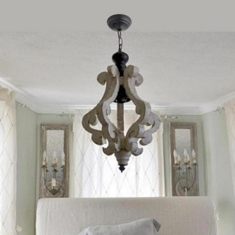 Distressed Painted Wood Pendant Chandelier