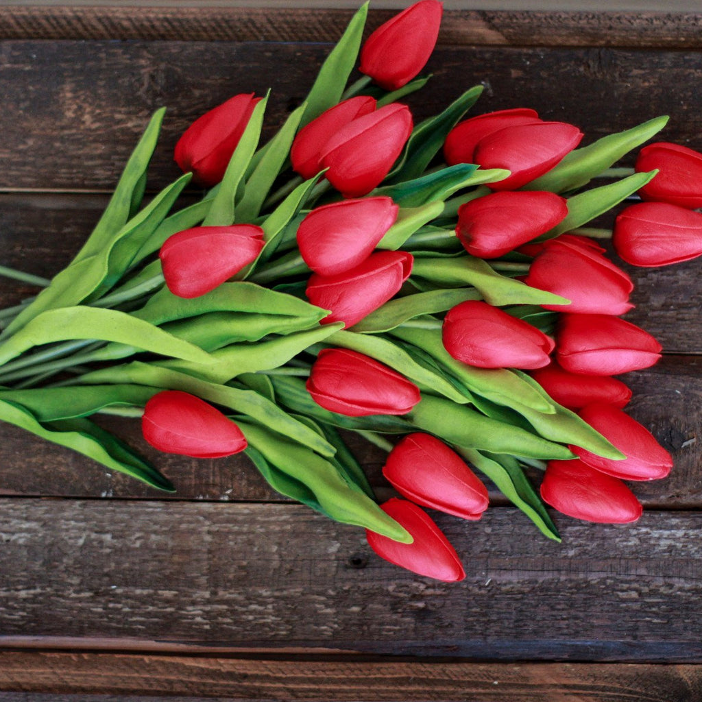 Red Real Touch Tulips, Set of Twelve