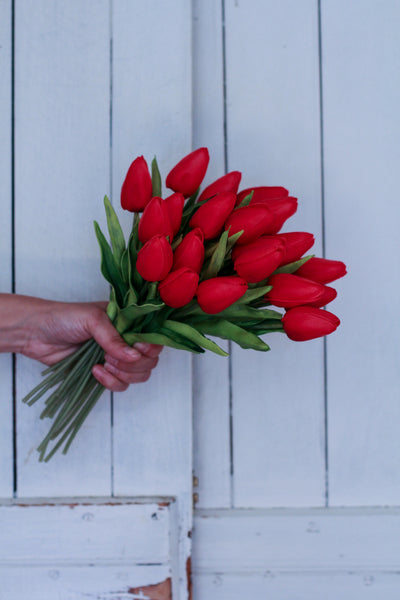 Red Real Touch Tulips, Set of Three Stems
