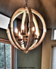 Painted Distressed Wood Orb Chandelier
