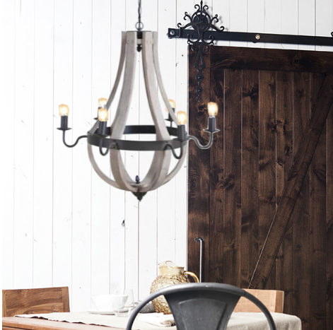 wine barrel chandelier wood