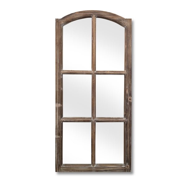 Wood Windowpane Mirror