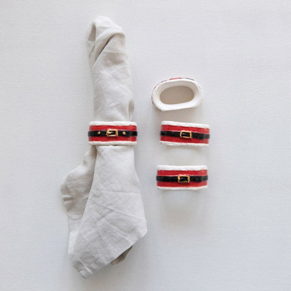Santa Belt Napkin Rings, Set of 4 LOCAL ONLY