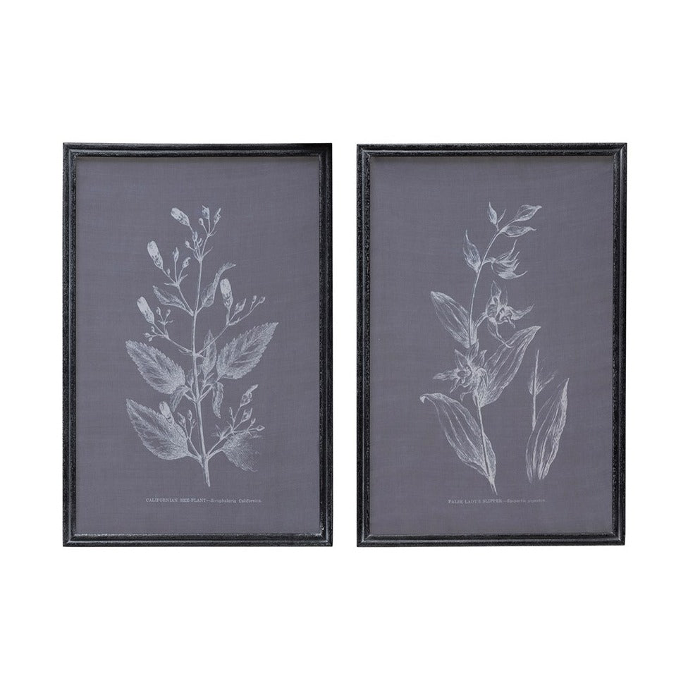 Blue Printed Screen Floral Art Set