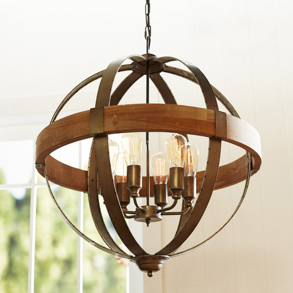 Wood & Metal Orb Chandelier
