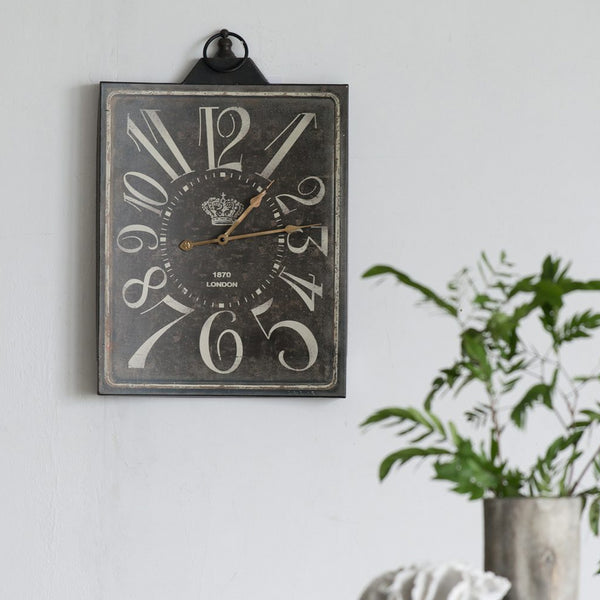 Distressed Black Wall Clock