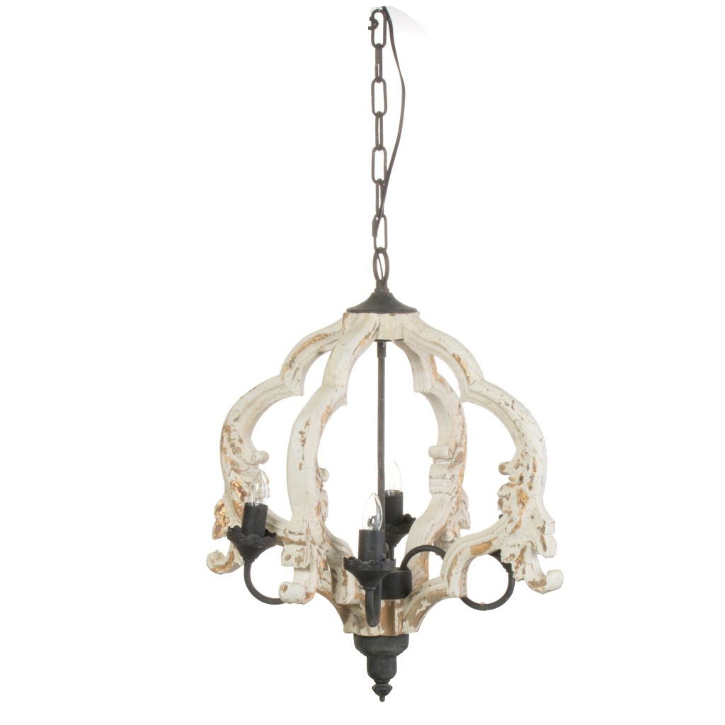 Distressed White Four Light Chandelier
