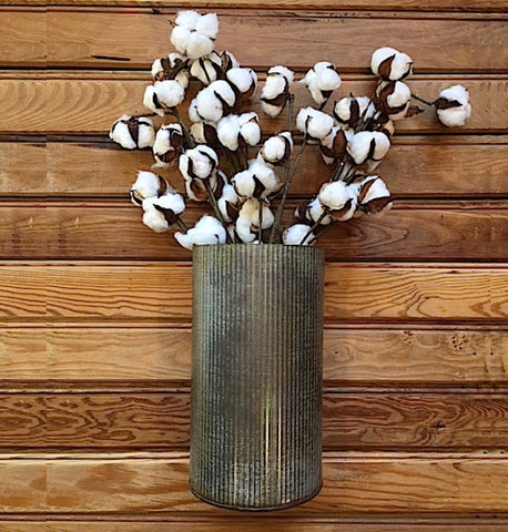 Faux Cotton Boll Stems -  Set of Three
