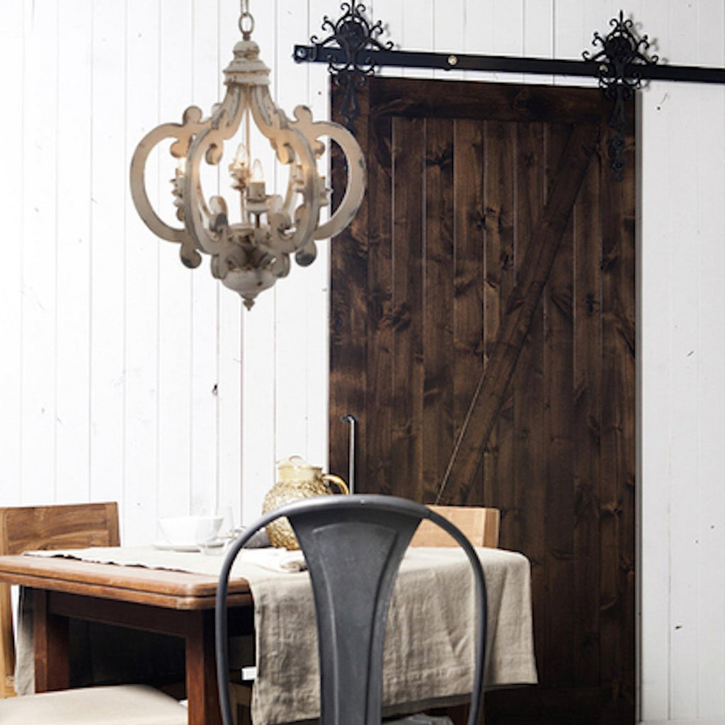Distressed Farmhouse Living Room: White Distressed Painted 6 Light Chandelier, Shabby Chic