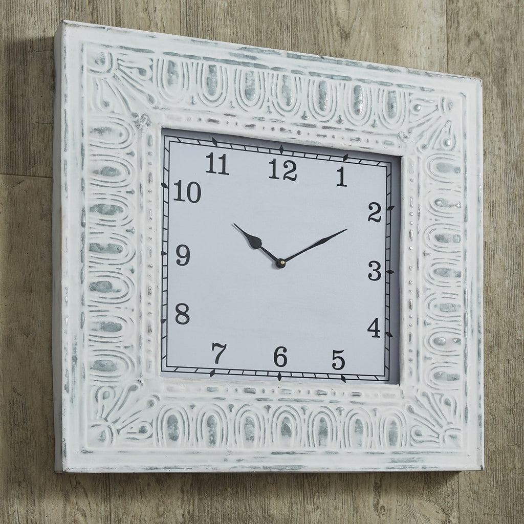 Distressed Tin Framed Clock