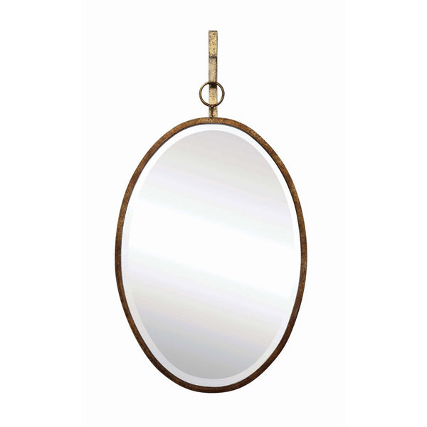 Oval Distressed Gold Mirror