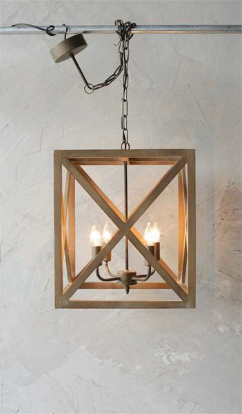 Square Wood Geometric Chandelier