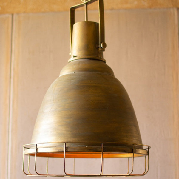 Antiqued Gold Industrial Pendant