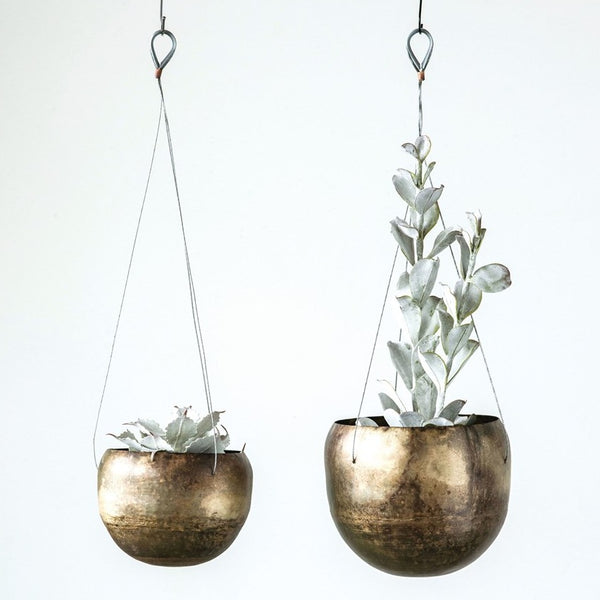 Antique Brass Hanging Planters, Set of 2