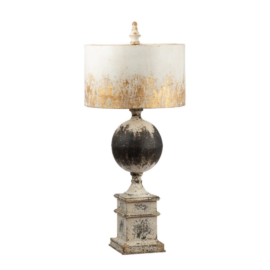 Distressed White, Black & Gold Table Lamp