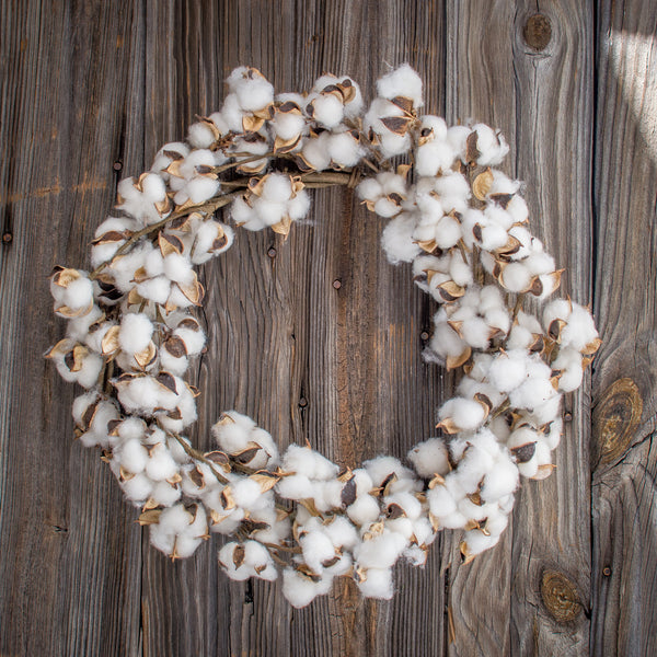 Faux Cotton Boll Wreath white rustic farmhouse