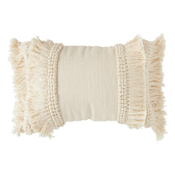 Cream Fringed Pillow